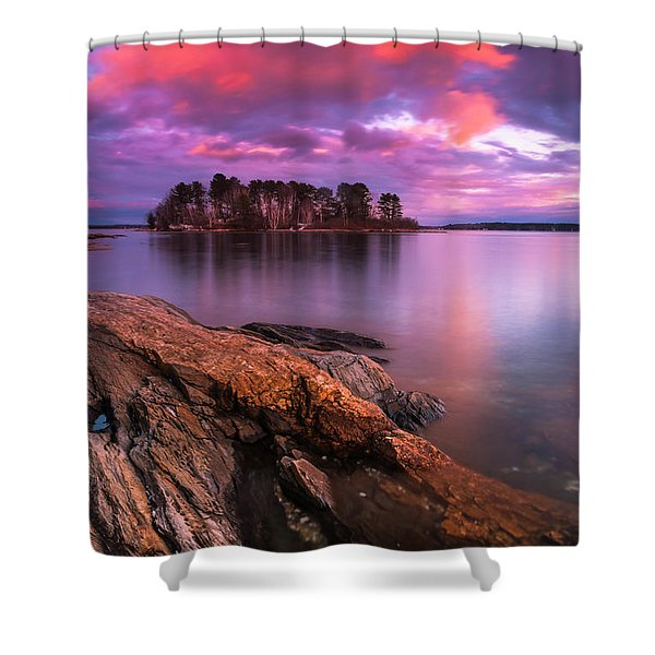 Shower Curtain featuring the photograph Maine Pound Of Tea Island Sunset At Freeport by Ranjay Mitra