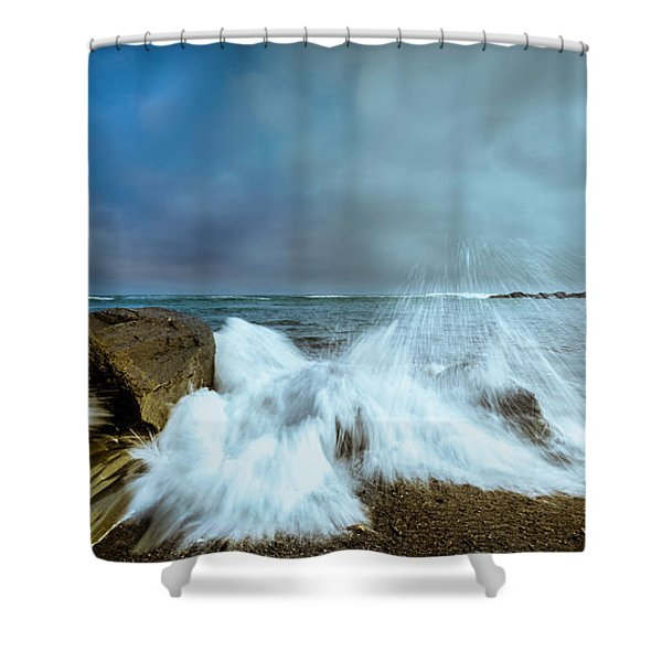 Shower Curtain featuring the photograph Maine Rocky Coast During Storm At Two Lights by Ranjay Mitra