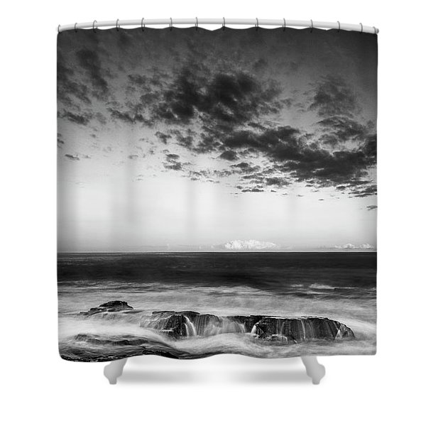 Shower Curtain featuring the photograph Maine Rocky Coast With Boulders And Clouds At Two Lights Park by Ranjay Mitra