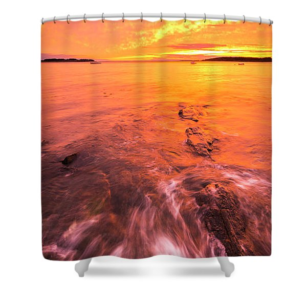 Maine Rocky Coastal Sunset At Kettle Cove Shower Curtain
