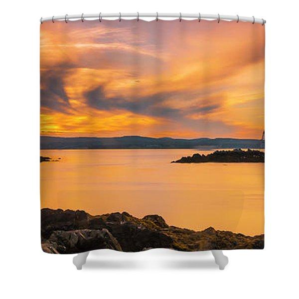 Maine Rocky Coastal Sunset In Penobscot Bay Panorama Shower Curtain