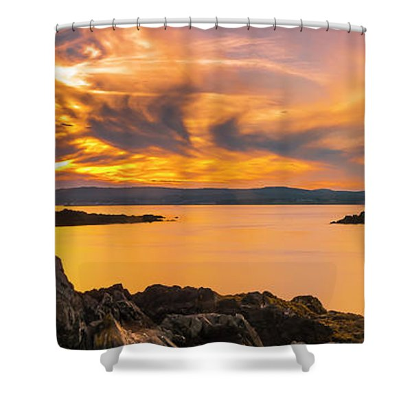 Shower Curtain featuring the photograph Maine Rocky Coastal Sunset In Penobscot Bay Panorama by Ranjay Mitra