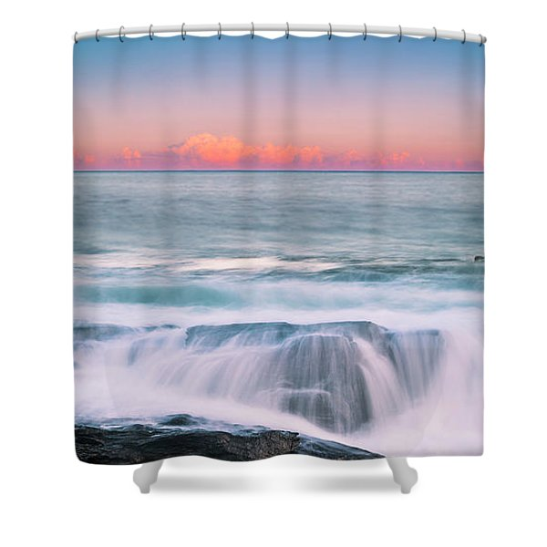 Maine Rocky Coastal Sunset Panorama Shower Curtain