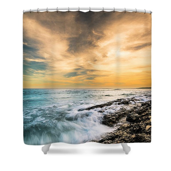 Maine Rocky Coastal Sunset Shower Curtain