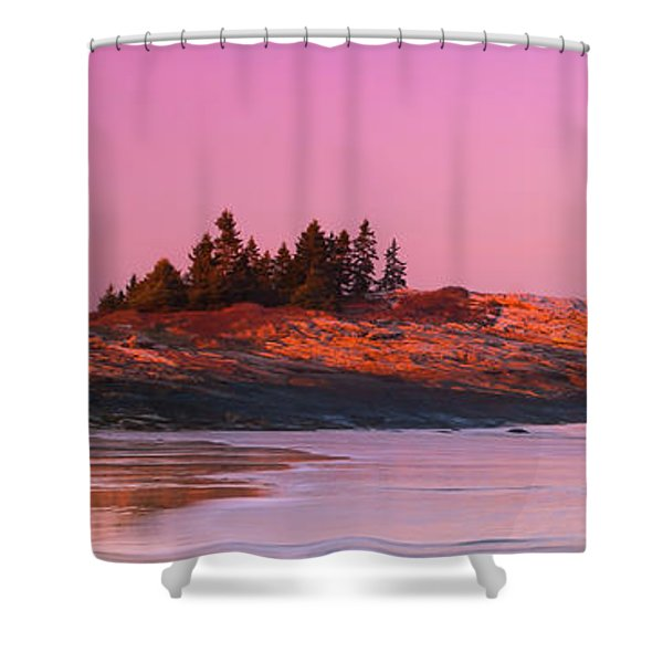 Shower Curtain featuring the photograph Maine Sheepscot River Bay With Cuckolds Lighthouse Sunset Panorama by Ranjay Mitra
