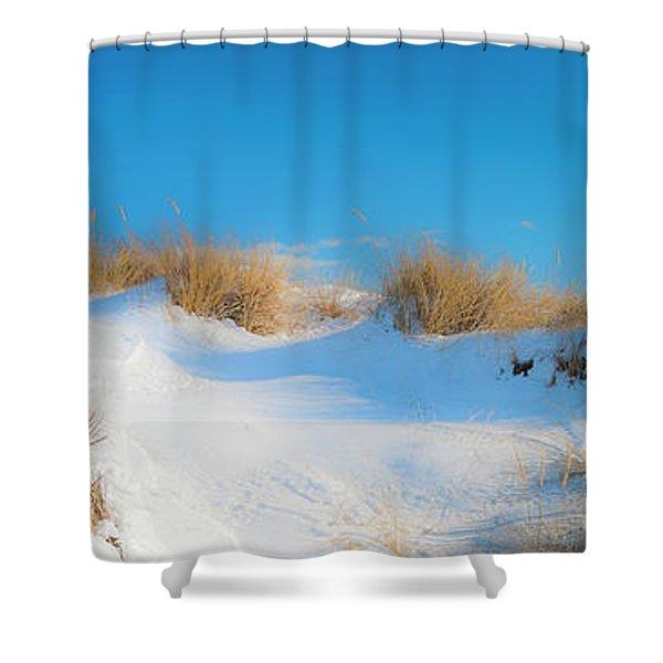 Maine Snow Dunes On Coast In Winter Panorama Shower Curtain