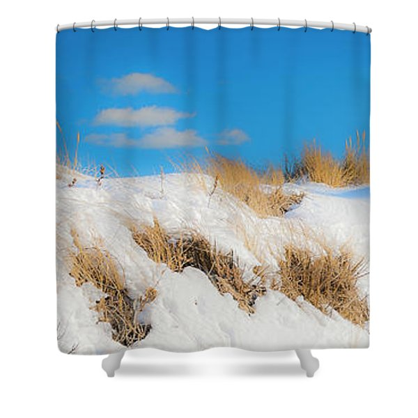 Shower Curtain featuring the photograph Maine Snow Dunes On Coast In Winter Panorama by Ranjay Mitra