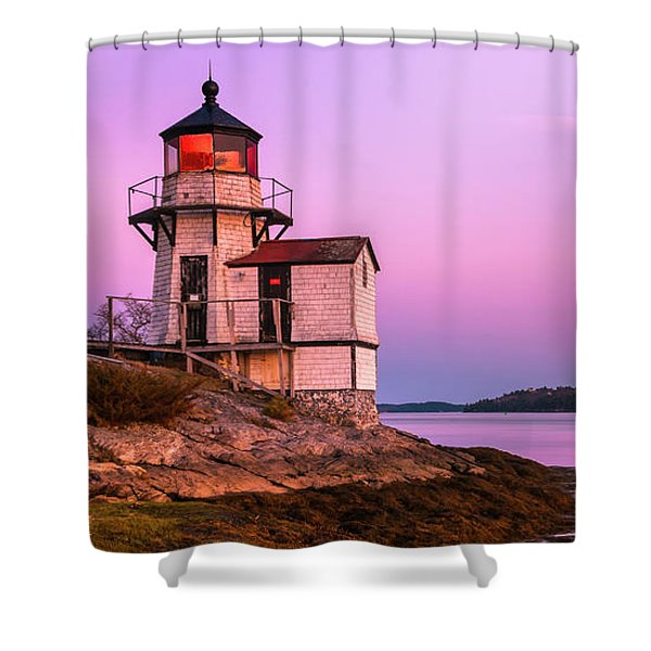 Shower Curtain featuring the photograph Maine Squirrel Point Lighthouse On Kennebec River Sunset Panorama by Ranjay Mitra