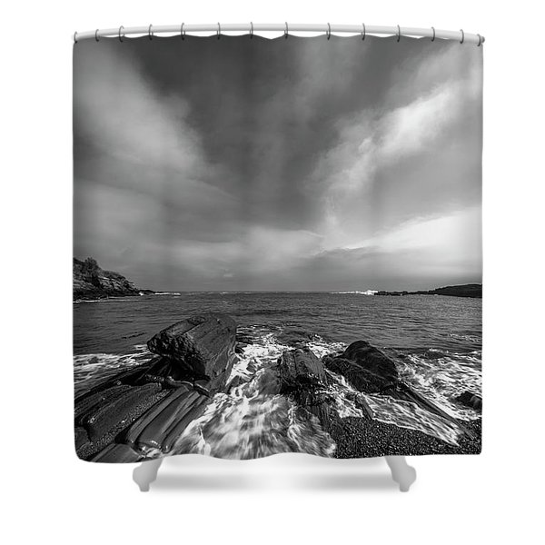 Shower Curtain featuring the photograph Maine Storm Clouds And Crashing Waves On Rocky Coast by Ranjay Mitra