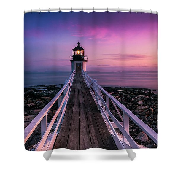 Shower Curtain featuring the photograph Maine Sunset At Marshall Point Lighthouse by Ranjay Mitra