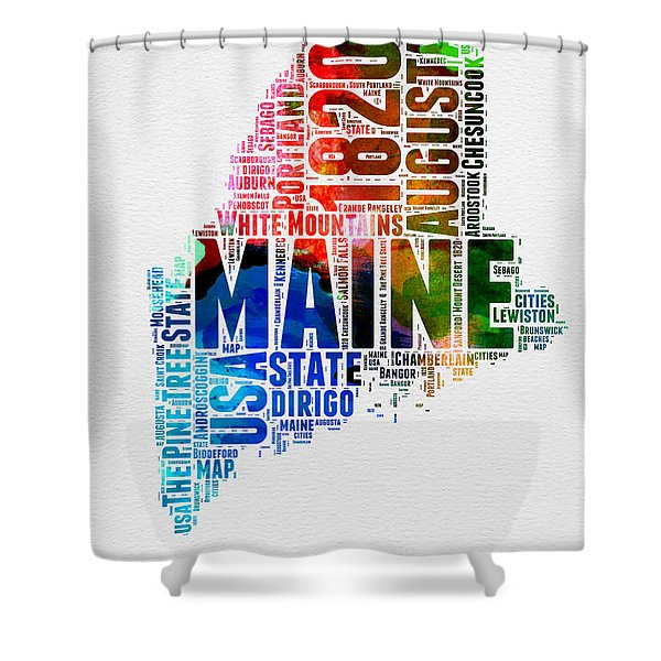 Maine Watercolor Word Cloud  Shower Curtain