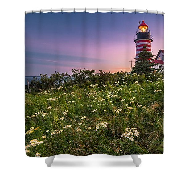 Maine West Quoddy Head Lighthouse Sunset Shower Curtain