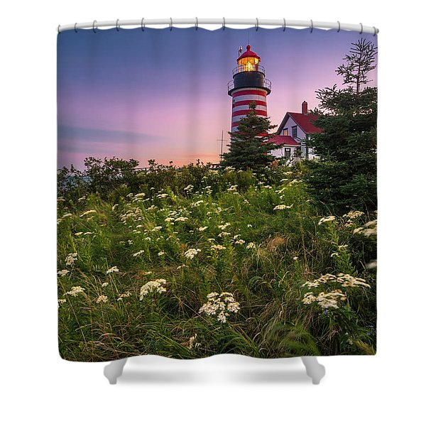 Shower Curtain featuring the photograph Maine West Quoddy Head Lighthouse Sunset by Ranjay Mitra