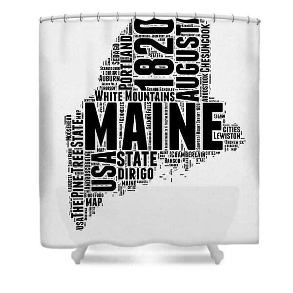 Maine Word Cloud 2 Shower Curtain