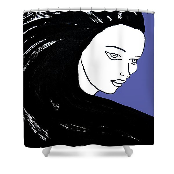 Majestic Lady J0715f J0715f Marina Blue Pastel Painting 17-4041 4f84c4 585fa8 Shower Curtain