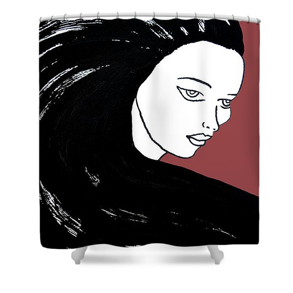Majestic Lady J0715g Marsala Red Pastel Painting 18-1438 964648 964f4c Shower Curtain