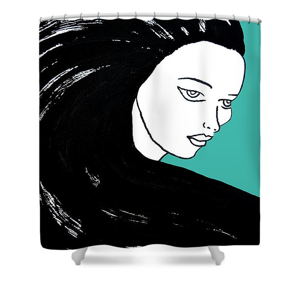 Majestic Lady J0715k Turquoise Green Pastel Painting 15-5519 41b6ab Shower Curtain
