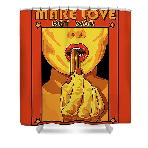 Make Love Not War Pop Art Shower Curtain