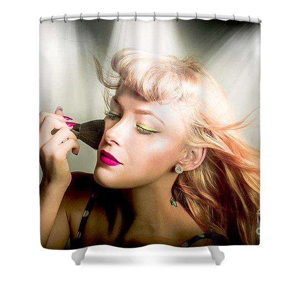 Make-up Brush Pinup Shower Curtain