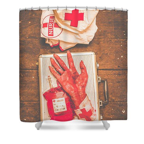 Make Your Own Frankenstein Medical Kit  Shower Curtain