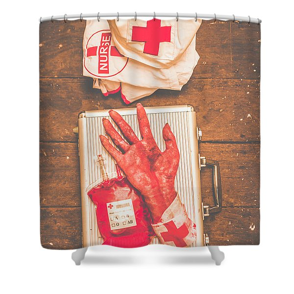 Make Your Own Frankenstein Medical Kit  Shower Curtain