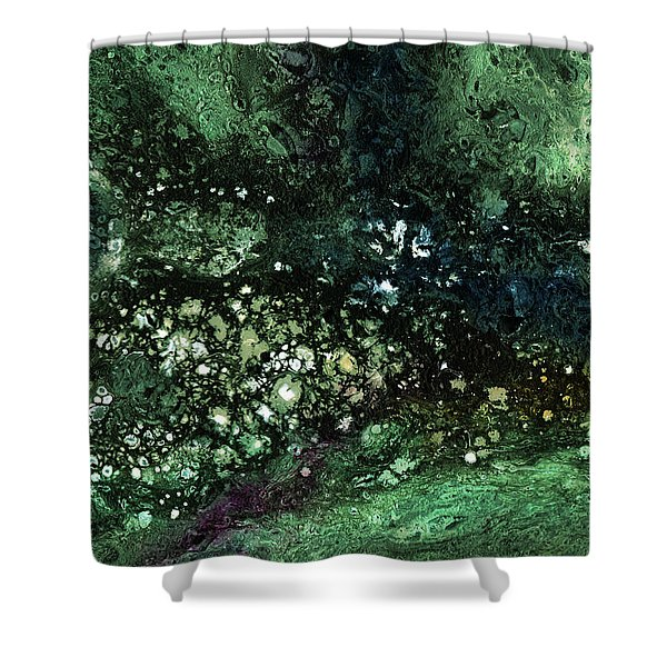 Malachite- Abstract Art By Linda Woods Shower Curtain
