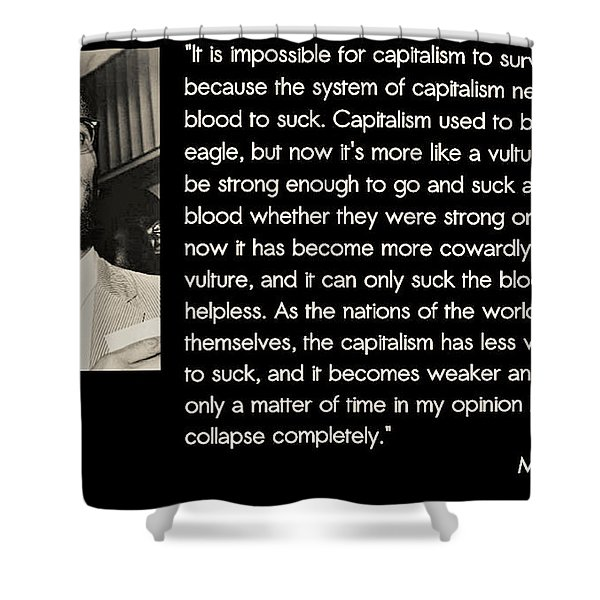 Malcolm X  On Capitalism And Vultures Shower Curtain
