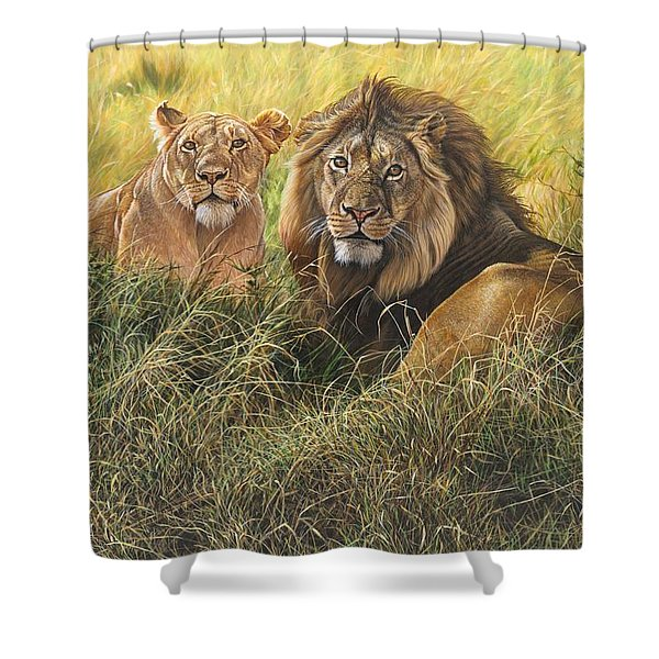 Shower Curtain featuring the painting Male And Female Lion by Alan M Hunt