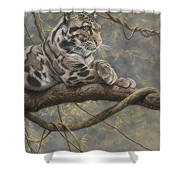 Shower Curtain featuring the painting Male Clouded Leopard by Alan M Hunt