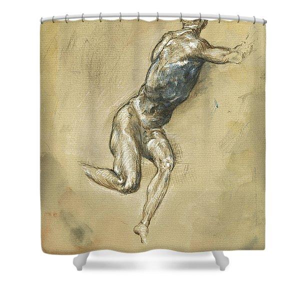 Male Nude Figure Shower Curtain