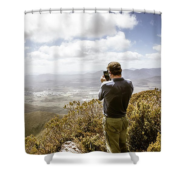Male Tourist Taking Photo On Mountain Top Shower Curtain