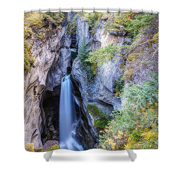 Maligne Canyon Waterfall Shower Curtain