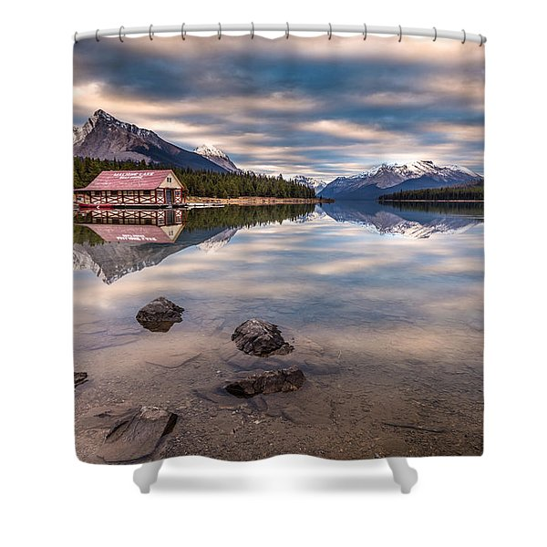 Maligne Lake Boat House Sunrise Shower Curtain