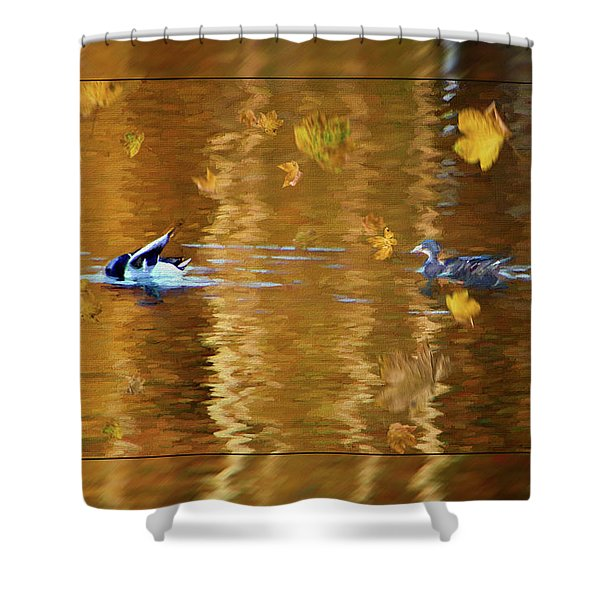 Mallard Ducks On Magnolia Pond - Painted Shower Curtain