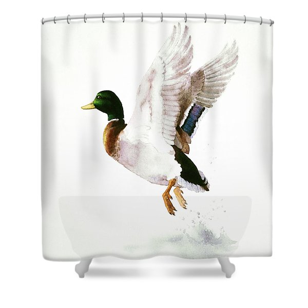 Mallard Flying Away Watercolor Shower Curtain