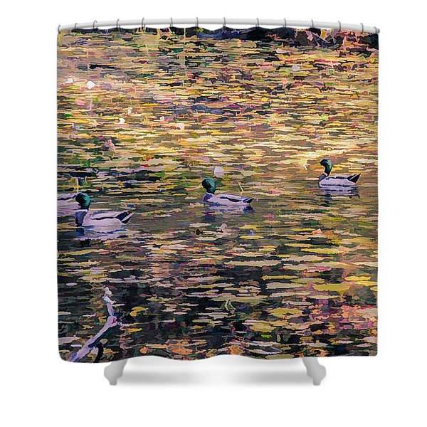 Mallards On Autumn Pond Shower Curtain