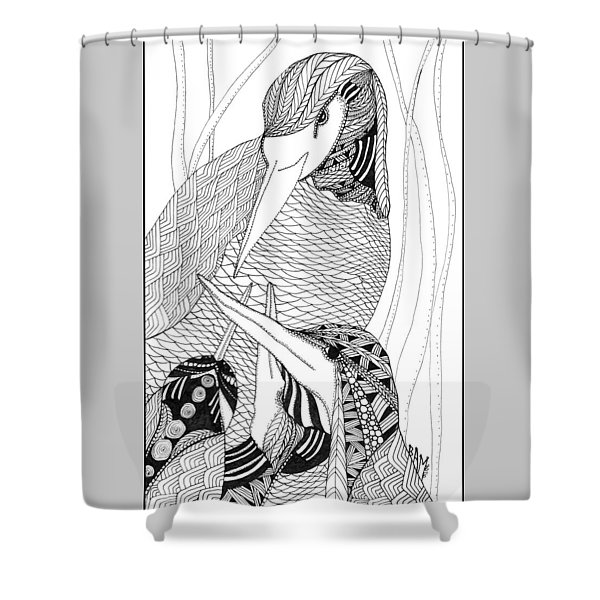 Mama Heron Shower Curtain