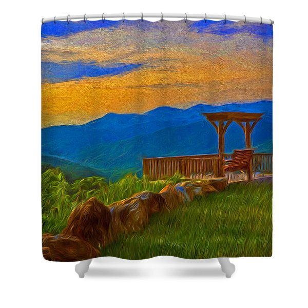 Blue Ridge Sunset From Mama Gertie's Hideaway Shower Curtain