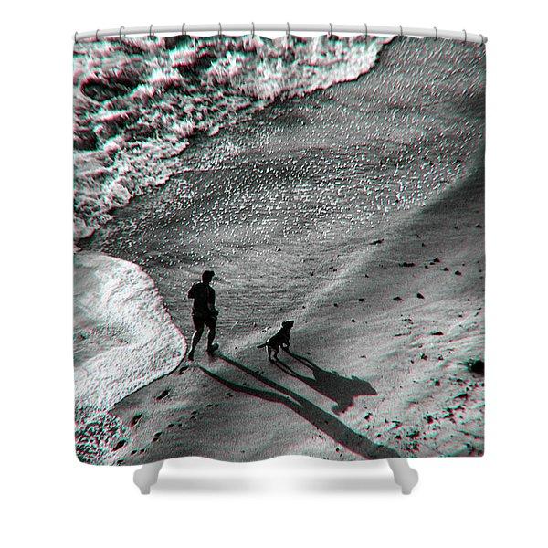Man And Dog On The Beach Shower Curtain