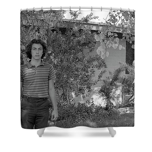 Man In Front Of Cinder-block Home, 1973 Shower Curtain