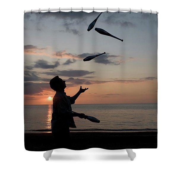 Man Juggling With Four Clubs At Sunset Shower Curtain