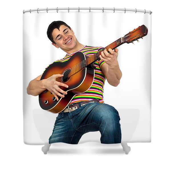 Man Playing The Guitar Shower Curtain