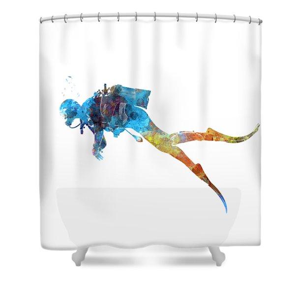Man Scuba Diver 01 In Watercolor Shower Curtain