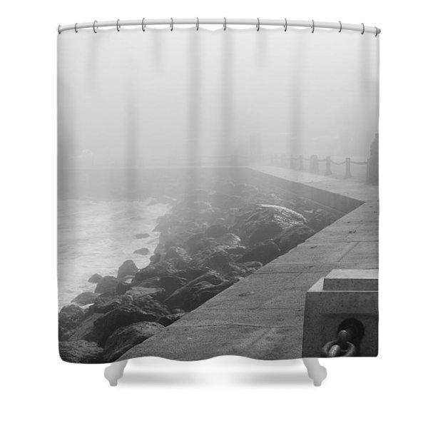Man Waiting In Fog Shower Curtain