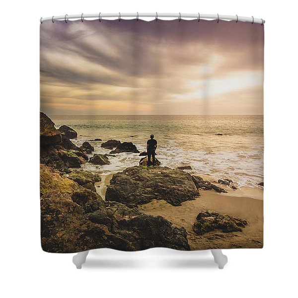 Man Watching Sunset In Malibu Shower Curtain