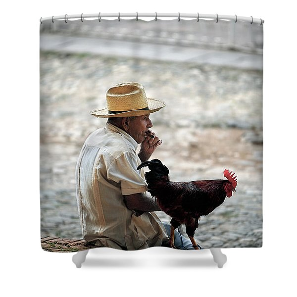 Man With Rooster - Trinidad - Cuba  Shower Curtain