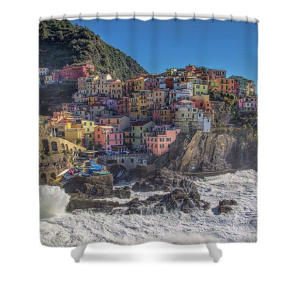 Manarola In Cinque Terre  Shower Curtain