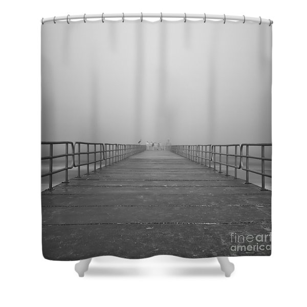 Manatee Beach Pier In Fog Infrared 39 Shower Curtain