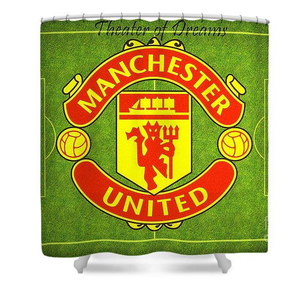 Shower Curtain featuring the digital art Manchester United Theater Of Dreams Large Canvas Art, Canvas Print, Large Art, Large Wall Decor by David Millenheft