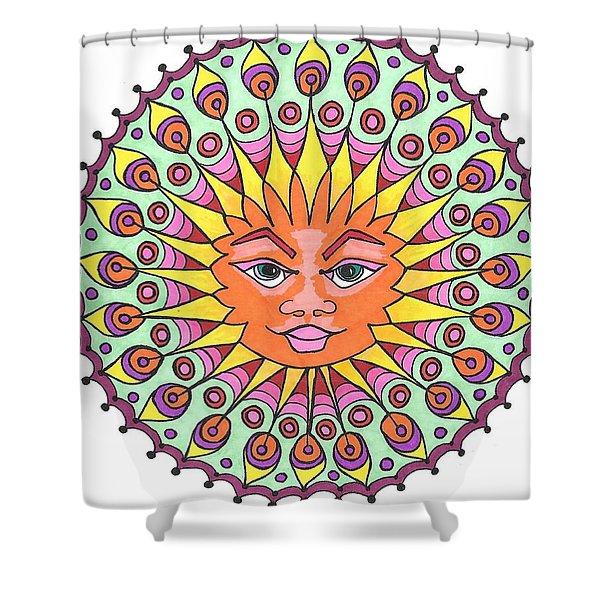 Peacock Sunburst Shower Curtain